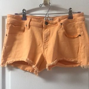 Roxy Orange Distressed Shorts. Size 30